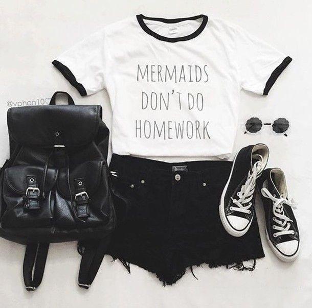 Mermaids Don't Do Homework shirt Funny Tumblr Tee School Mermaid ...
