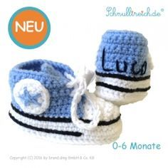 Häkel Babyschuh mit Namen Blau (Junge)