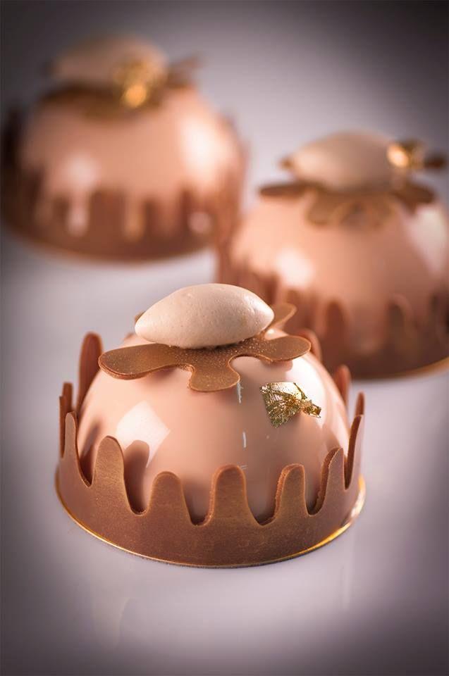 Fall season coming with Azuki bean and chesnut dome. DHARA DHEVI CAKE SHOP Chiangmai Thailand.