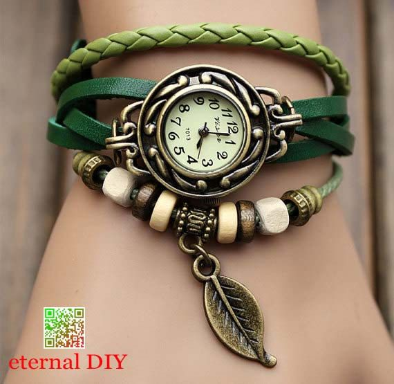 Love the green band :)    leather wrap watch, leather band wrist watch, women wrist watches with vintage ,leaf, Leather watch bracelet on Etsy, $9.99