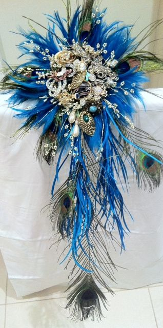 peacock vintage brooch bouquet , by bridal brooch bouquets.co.uk
