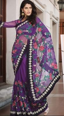 Melodic Bluish Purple Embroidered Saree