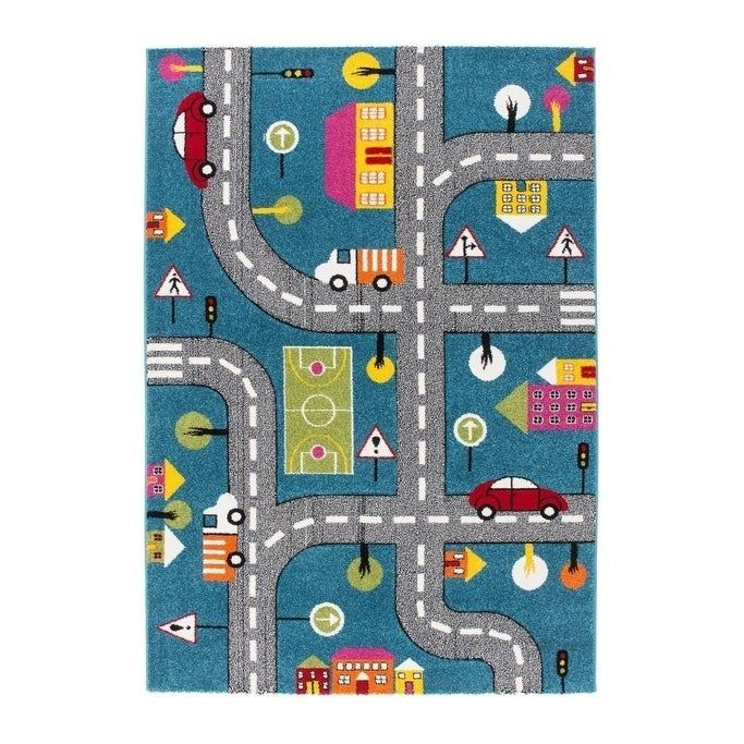 Ladole Rugs Kids Area Rug Cars And Roads City Theme In Blue 3 9 X 5 2 Kids Area Rugs Colorful Nursery Decor Colorful Rugs