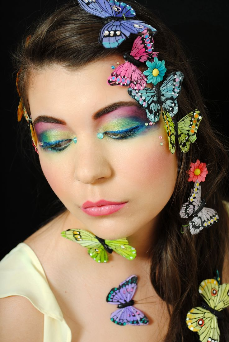Butterfly inspired creative colourful makeup by one of our talented students.