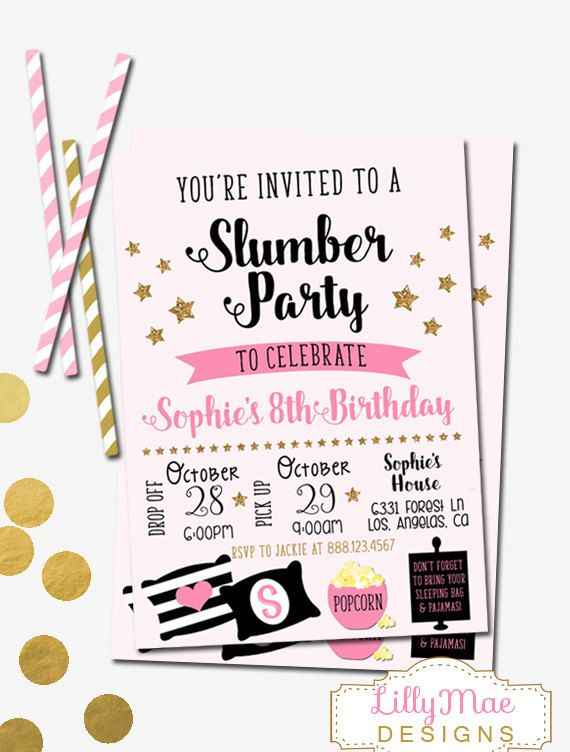 Slumber Party Invitation Sleepover Invitation by LillyMaeDesigns
