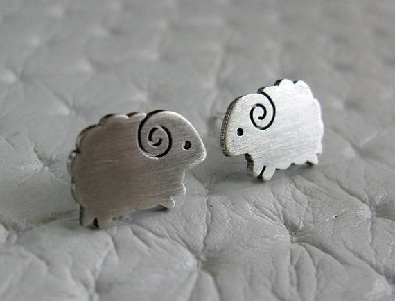 Little Sheep Earrings Studs- Handmade Sterling Silver Jewelry on Etsy, $25.00