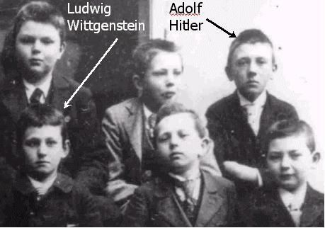 Hitler's class photo of 1901 as a 12 years old school boy. He was with Ludwig Wittgenstein in the same school desk.