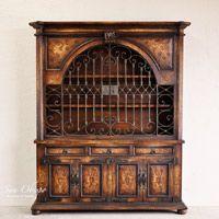Hutches Pintado Viejo Mundo Muebles de comedor Mano Armarios Medios Gabinetes