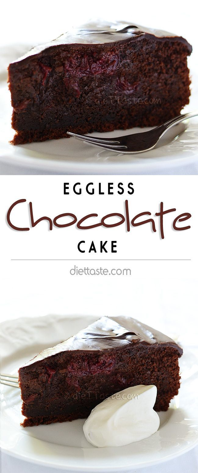 Eggless Chocolate Cake - deep chocolate vegan cake; with or without cherries; simple yet extravagant - diettaste.com