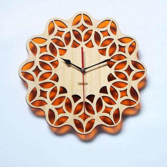 Bamboo Retro Orange Wall Clock   60s Floral by HOMELOO on Etsy