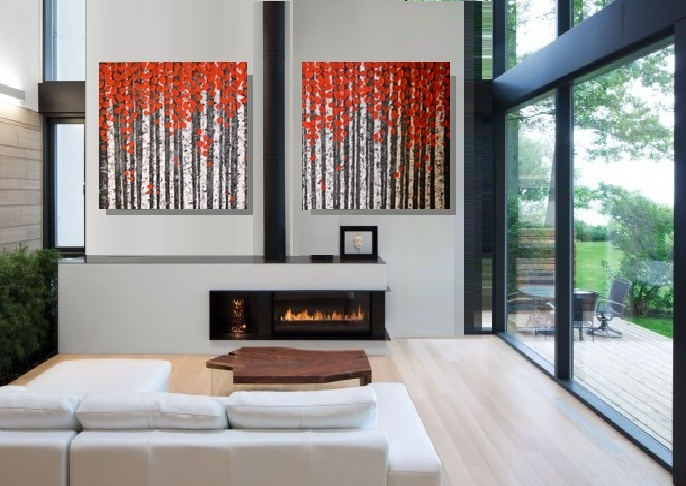 Original Large Modern Art 40x24 Abstract Landscape Palette Knife Textured Red Birch Aspen Trees Painting