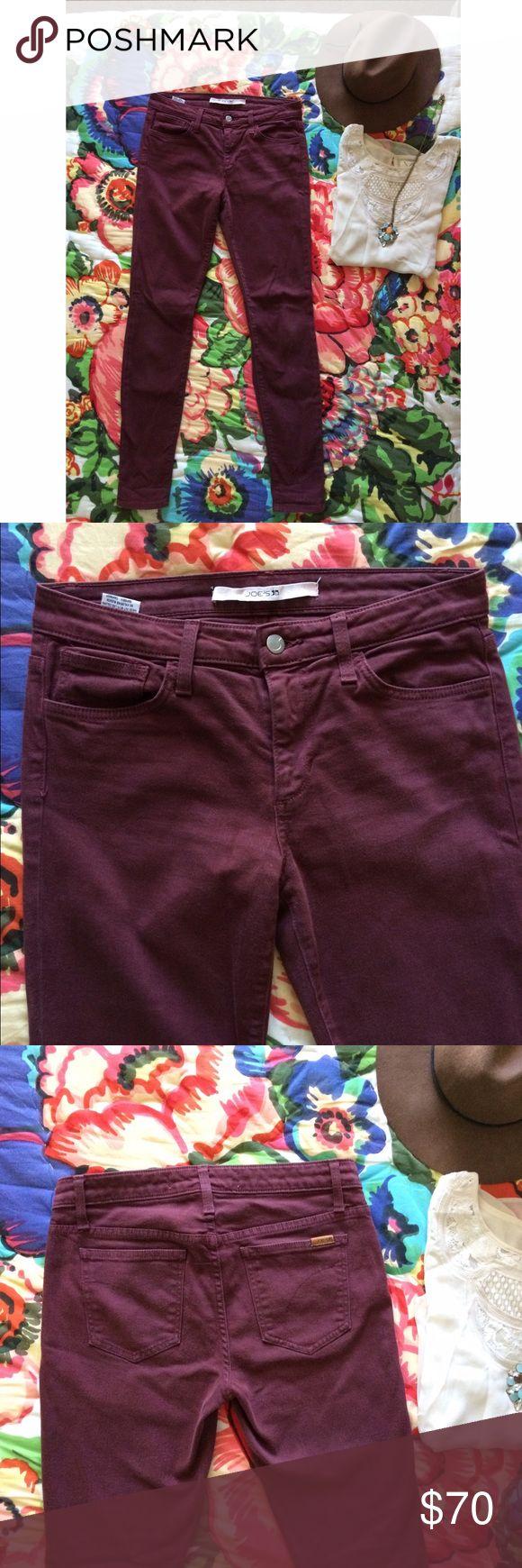 Joe's Jeans, Bordeaux colored skinny jeans Joe's Jeans, Bordeaux colored skinny jeans, size 27. Worn just a few times, great used condition. Joe's Jeans Jeans Skinny