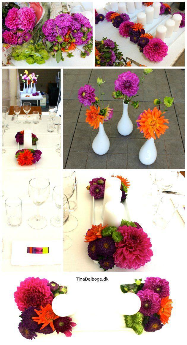 bordpynt med lys og blomster - georgine  dahlia
