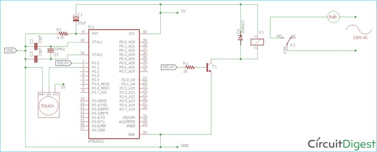 circuit diagram for controlling light using touch sensor and 8051 microcontroller