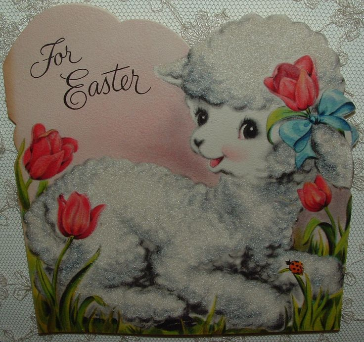 Flocked - Little White Easter Lamb - 1940's Vintage HALLMARK Greeting Card in Collectibles, Paper, Vintage Greeting Cards, Other Vintage Greeting Cards | eBay