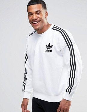 felpa adidas bianca strisce nere