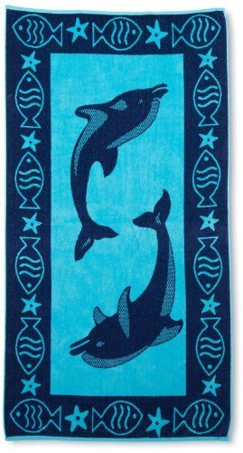 ExceptionalSheets Luxury Beach Towel, 100% Cotton, Dolphin Blue