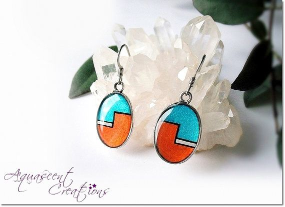 Teal and copper dangle earrings hand painted by AquascentCreations