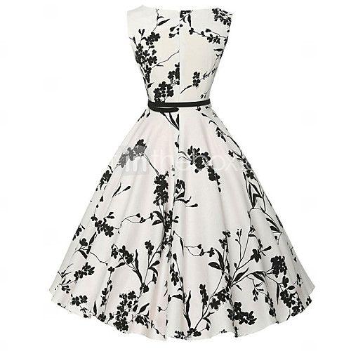 millésime femmes / robe simple floral gaine / patineur, col rond genou coton (motif de fleur aléatoire) de 2016 ? €12.73