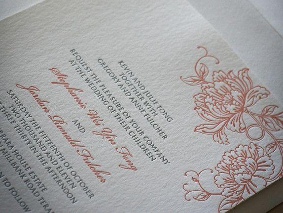 Letterpress wedding stationery - floral pink