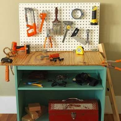 DIY Small Workbench--It's discussed as a children's area in the article, but I would find it lovely to use as a small-space work area myself. As long as the height doesn't cause back pain or safety problems.