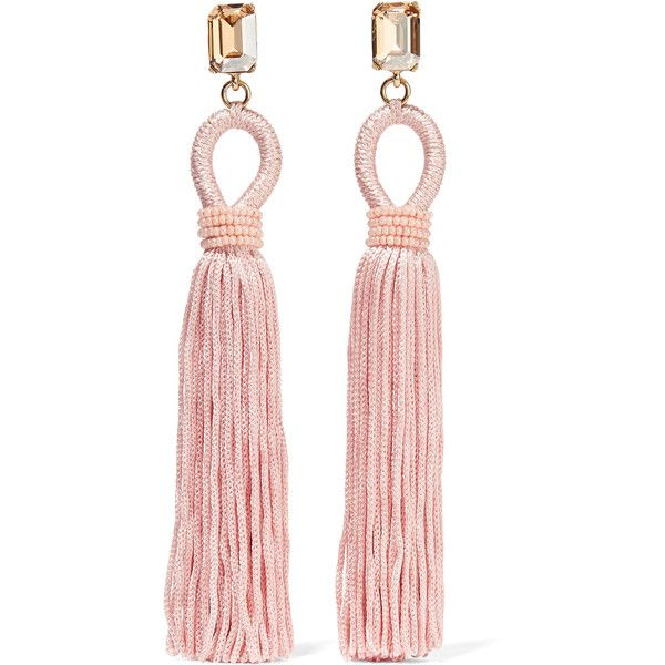 Oscar de la RentaTasseled Silk, Gold-plated And Swarovski Crystal Clip... ($275) ❤ liked on Polyvore featuring jewelry, earrings, accessories, brincos, pastel pink, pink jewelry, long tassel earrings, pink clip on earrings, pink earrings and pink tassel earrings