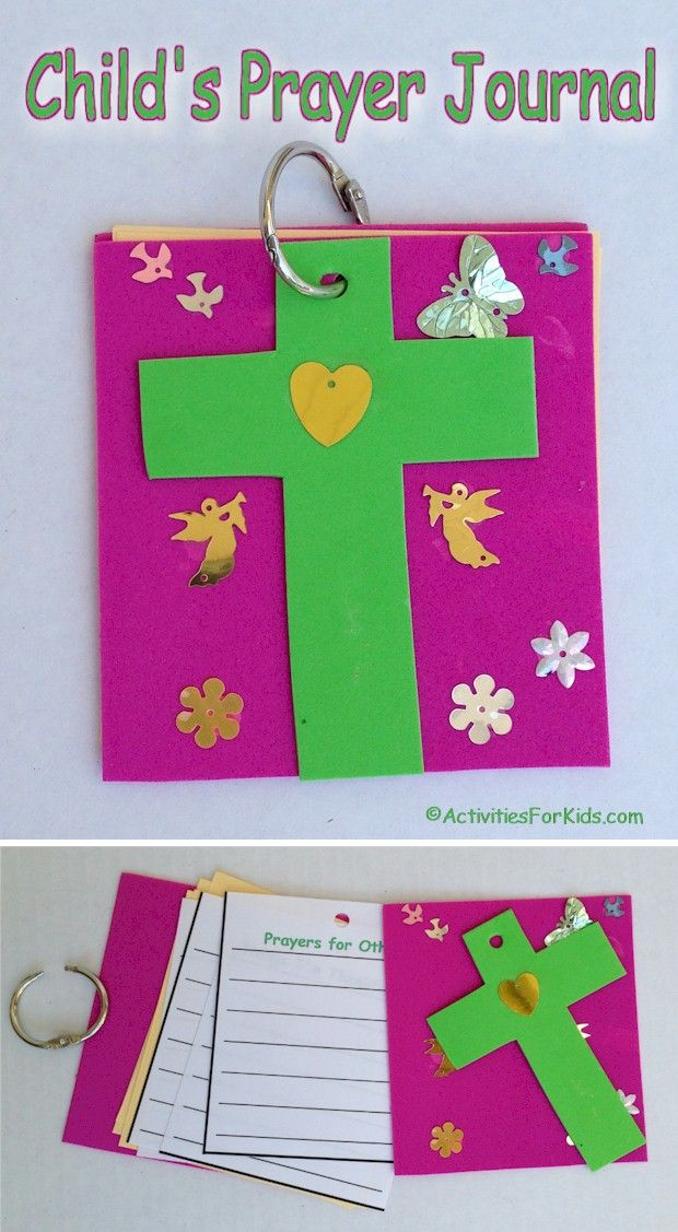 DIY child's prayer journal that is easy to put together.  Printable pages for the journal include Prayers for Others, Prayers for Myself, Today's Bible Verse and Thing's I'm Thankful For. This Prayer Journal for kids is a  great classroom and VBS activity - easy for large groups.  From Activities For Kids.com.