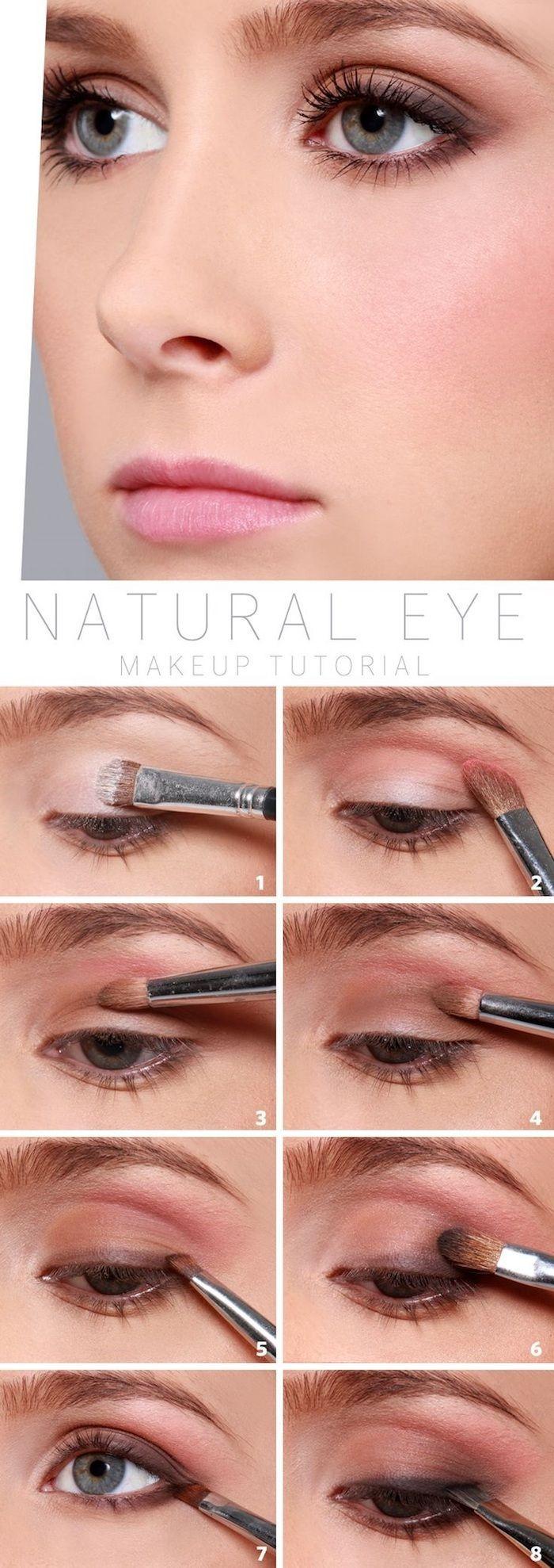 natürliches make up in rosa und braun, rosa lippen, schminken tutorial, schritt…