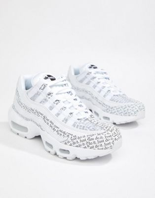 separation shoes 4216f ea4d7 Step back into semester in style and grab yourself a pair of Nike Just Do  It White And Black Newspaper Print Air Max 95 Se Trainers available on ASOS