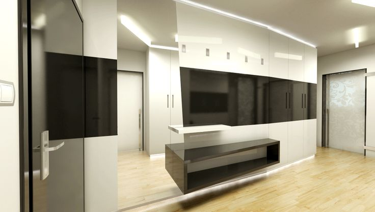 chodba v bytě, skříň v černobílém provedení vysoký lesk