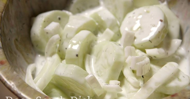 A cucumber and sweet Vidalia onion salad, dressed with a vinegar and sour cream dill dressing.