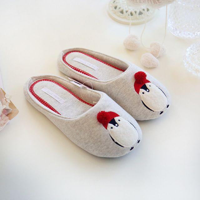 Pinguim Bonito do Teste Padrão Animal de algodão Chinelos Em Casa Mulheres Sapatos Fechados Para O Quarto Casa de Hóspede Adulto Inverno Quente Flats Fundo Macio