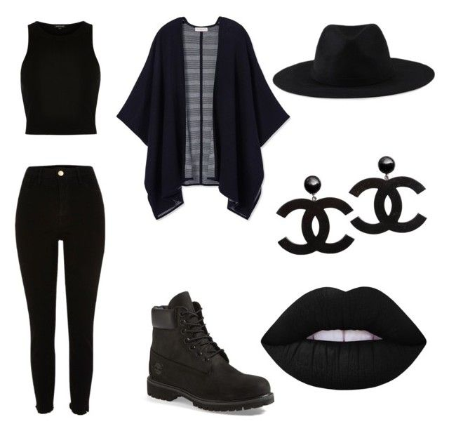 All Black Magic by amandasrungano on Polyvore featuring polyvore River Island Tory Burch Element Timberland Lime Crime fashion style clothing