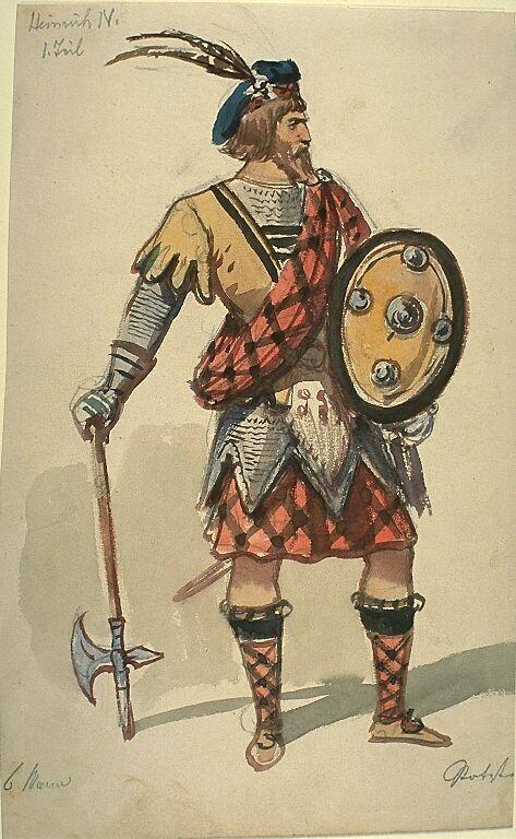 Kostümentwurf für eine männliche Figur in 'König Heinrich IV., 1. Teil' von William Shakespeare | Franz Gaul | Bildindex der Kunst & Architektur
