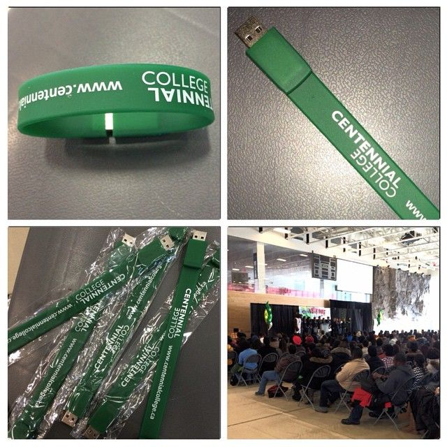 #centennialcollege gives away plenty of free stuff during #orientation2015, including these handy USB bracelets.