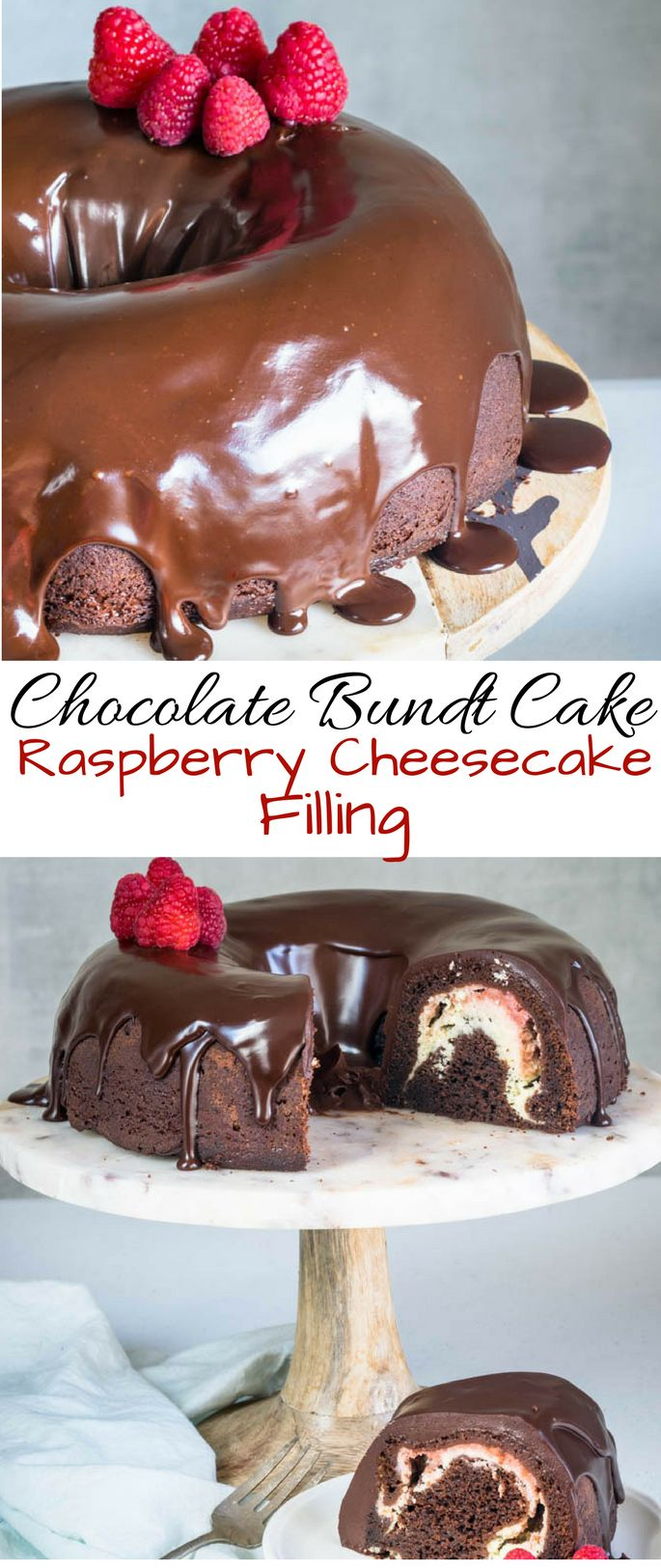 Chocolate Bundt Cake with Raspberry Cheesecake Filling | Pies and Tacos #cake #dessert #cheesecake #chocolate