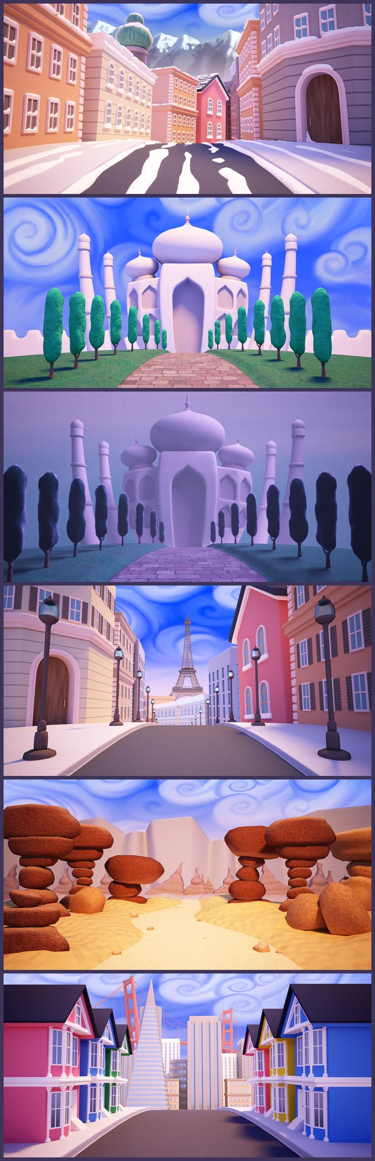 These scenes were created to be printed as murals and as virtual backgrounds in a video. Created in 3D with Maya and VRay. www.StareStudios.com
