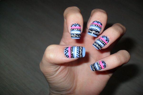 Tribal Aztec Print Nails