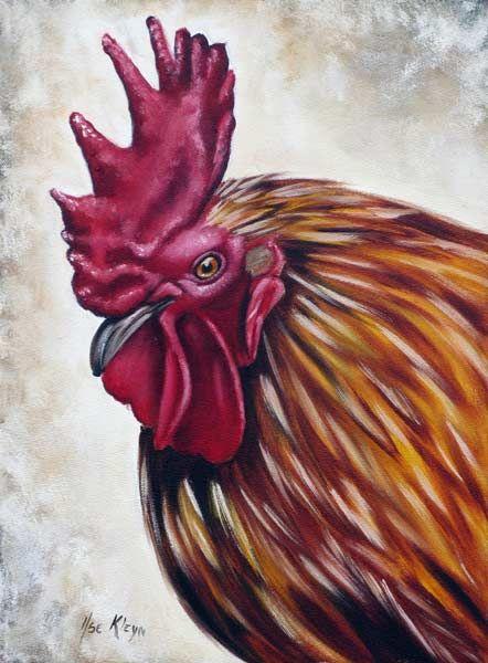 Rooster Head by Ilse KLeyn. Oil on canvas www.artofkleyn.com