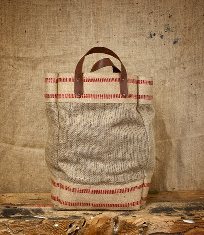 CXXVI Clothing Co. — Burlap and Leather Tote