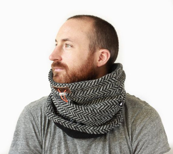 Snock™ mens unisex cowl scarf in grey chunky herringbone by jaffic   #Schal