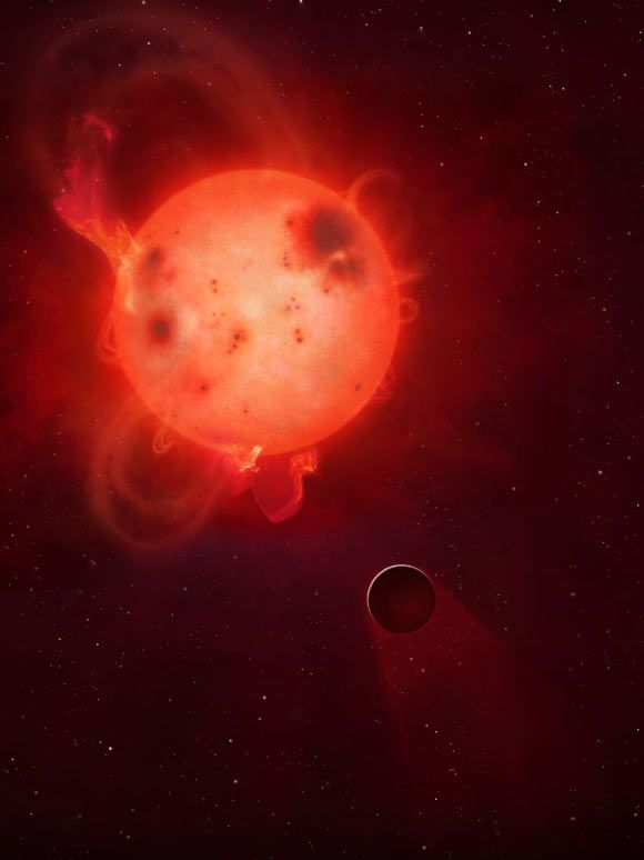 Kepler-438b is shown here in front of its violent parent star, Kepler-438. Image credit: Mark A. Garlick / University of Warwick.