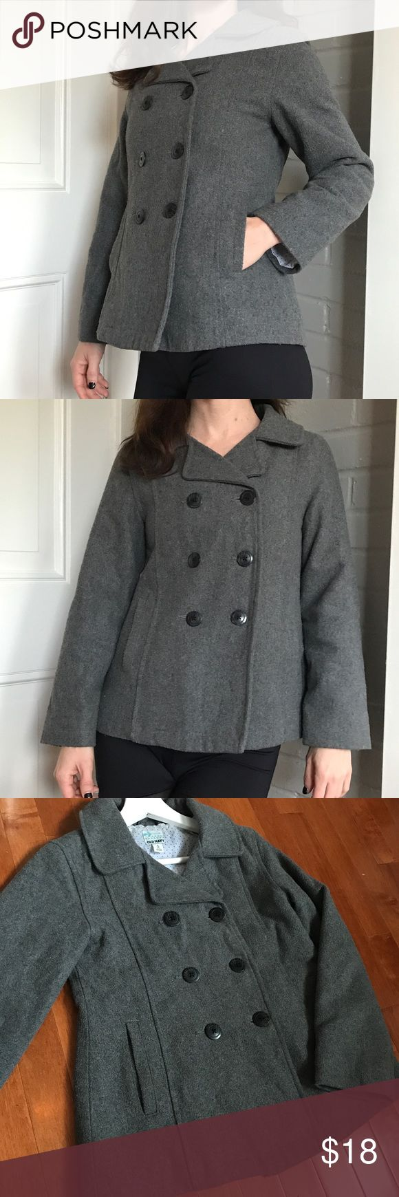 Old Navy Pea Coat This is an adorable gray pea coat by Old Navy. This item is a girls' Large, and I bought for myself as an XS. It really is so comfortable and allows for movement and warmth. Some pilling on coat, but otherwise well-kept and dry cleaned. Old Navy Jackets & Coats Pea Coats