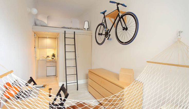 A 13 sqm apartment contains both a hammock and a bed for two.