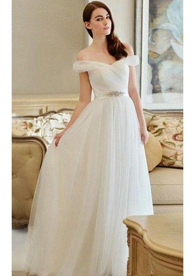 Wedding dress online shop - Hot Sales Custom Off-the-shoulder Floor Length A-Line Tulle Wedding Dresses Bridal Gowns