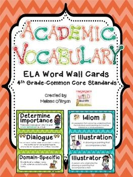 Fourth grade teachers this one is for you!! Over 160 ELA Common Core Vocabulary Word Wall cards for posting on word walls, in vocabulary notebooks/folders, centers, bulletin boards, and MORE. Repeated exposure to the words in the common core is critical for success. My students reference these cards daily and yours will too! $ #wildaboutfifthgrade