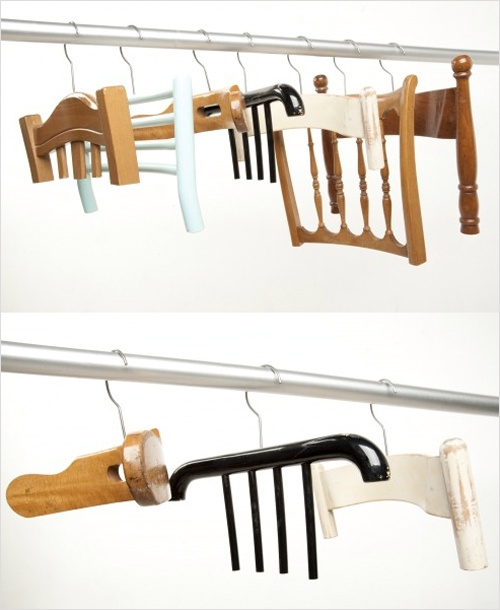 [hangers made from old chairs.]