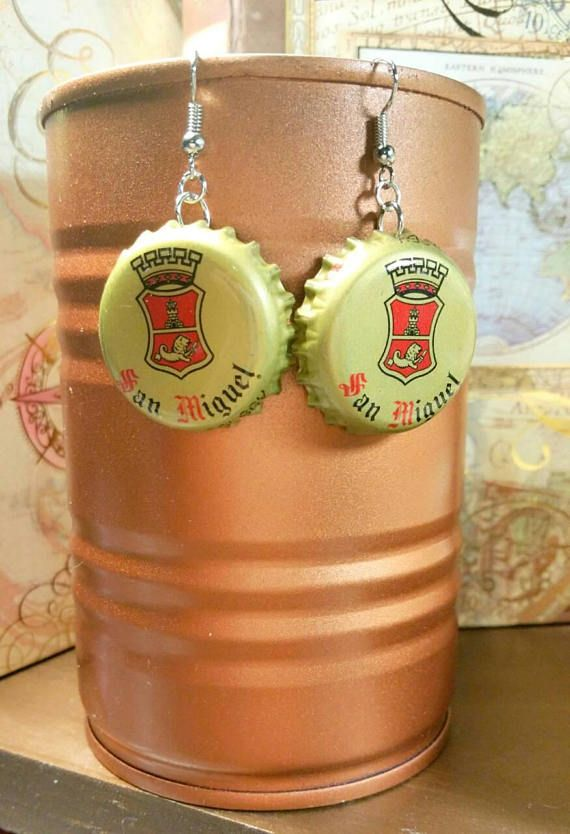 Check out this item in my Etsy shop https://www.etsy.com/listing/567650953/san-miguel-beer-cap-earring-filipino