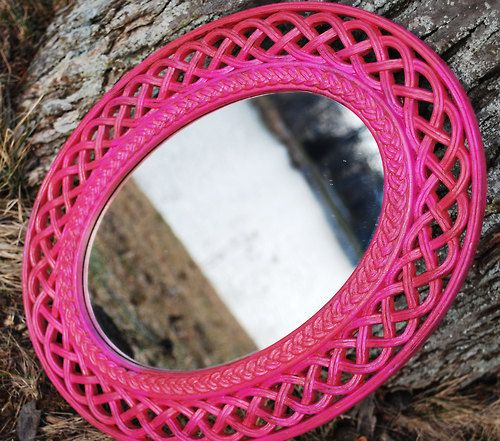 Pink Mirror Vintage Faux Wicker Wall Hanging Ornate REVERSABLE Oval Upcycled, Great Valentines Gift. - LadyandMeemzFab