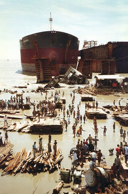 Ship Breaking, Chittagong, Bangladesh. Ship breaking or ship demolition is a type of ship disposal involving the breaking up of ships for scrap recycling. Most ships have a lifespan of a few decades before there is so much wear that refitting and repair become uneconomical. Ship breaking allows materials from the ship, especially steel, to be recycled. Equipment on board the vessel can also be reused. Photo by gnome_sydney, via Flickr (V)